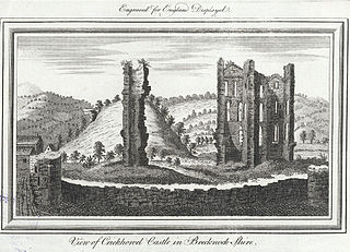 View of Crickhowel Castle in Brecknock shire