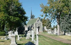Fairmount Cemetery (Denver, Colorado) - A view of Fairmount Cemetery with the Little Ivy Chapel in the background.