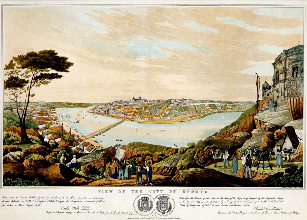 Vue sur Porto depuis les hauteurs en 1833 pendant le siège de la ville.