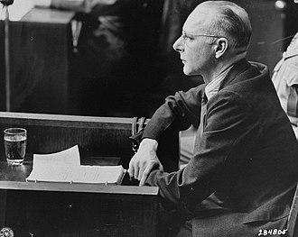 Euthanasia trials - Viktor Brack testifies in his own defense at the Doctors' Trial in Nuremberg in 1947