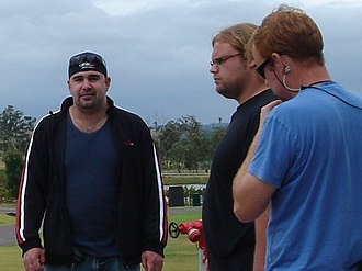American Chopper - Vinnie (Working for Paul Jr.) and Mikey filming at an outside location.