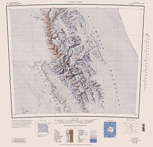 Vinson Massif - Map of central and southern Sentinel Range, Ellsworth Mountains with Vinson Massif.