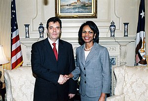 Vojislav Koštunica - With Secretary Rice in Washington DC on 12 July 2006.