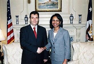 Vojislav Koštunica - With Secretary Rice in Washington DC on 12 July 2006.