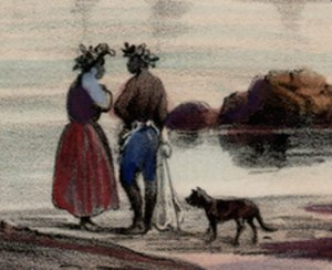 Hawaiian Poi Dog - Vue de Honolulu. lles Sandwich, drawing by Barthélémy Lauvergne, c. 1836. Detail crop shows a spotted dog with prick ears and a long tail.