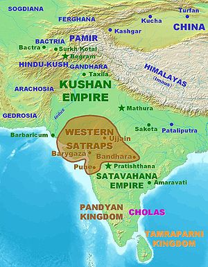 Western Satraps - Approximate territory of the Western Kshatrapas (35–405).