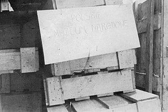 World War II looting of Poland - Crates from the National Museum in Kraków packed for shipment to Germany