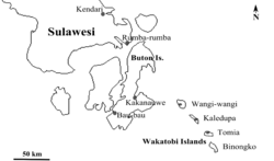 Wakatobi Islands in relation to the Sulawesi mainland, with major cities marked