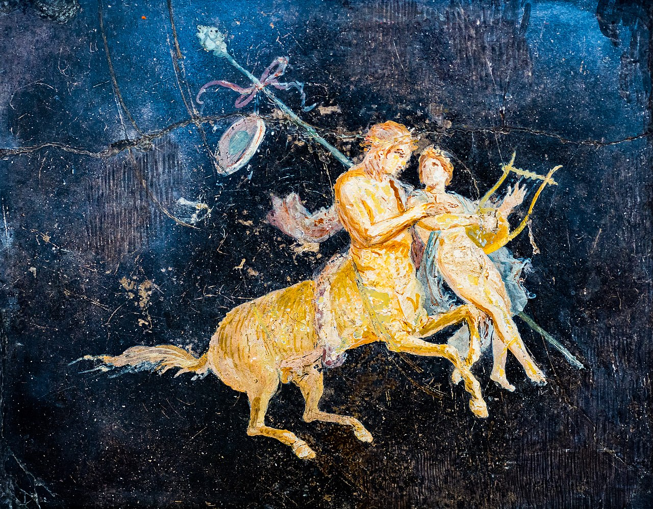Wall painting - male and female centaurs with women and boys - Pompeii (villa of Cicero) - Napoli MAN 9133 - 02.jpg