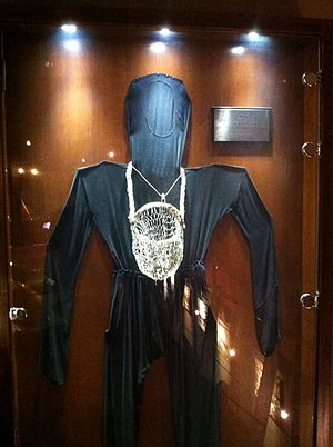 Pearl hunting - A piece of clothing used by Kuwaiti divers searching for pearls. Demonstrated in the Maritime Museum in Kuwait City, Kuwait