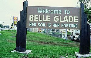 Belle Glade, Florida - The former sign at the entrance to Belle Glade