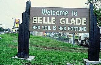 Belle Glade, Florida - The former sign at the entrance to Belle Glade