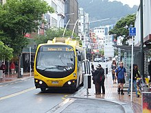 Electric trolleybuses serve most major bus routes in Wellington, supplemented at peak by diesel buses.