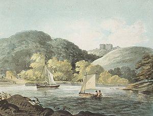 Wembury - 1797 watercolour by Rev. John Swete (d.1821) of the ruins of Wembury House, built by Sir John Hele