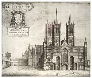 Lincoln Cathedral - 17th century print of Lincoln Cathedral with spires on the west towers