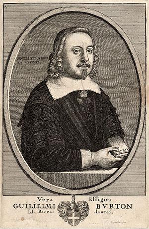 William Burton (antiquary, died 1657) - William Burton holds a book with inscription ANTONINUS, frontispiece portrait by Wenceslas Hollar.