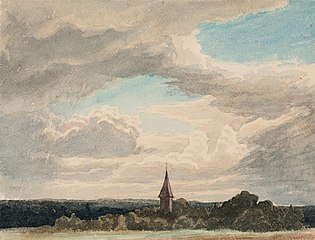Steeple in a Landscape in Odenthal, Study
