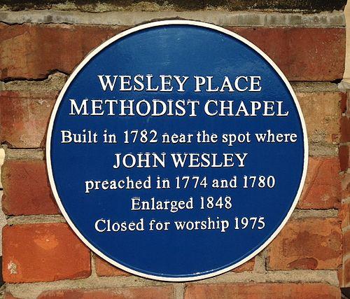 Wesley place methodist chapel plaque