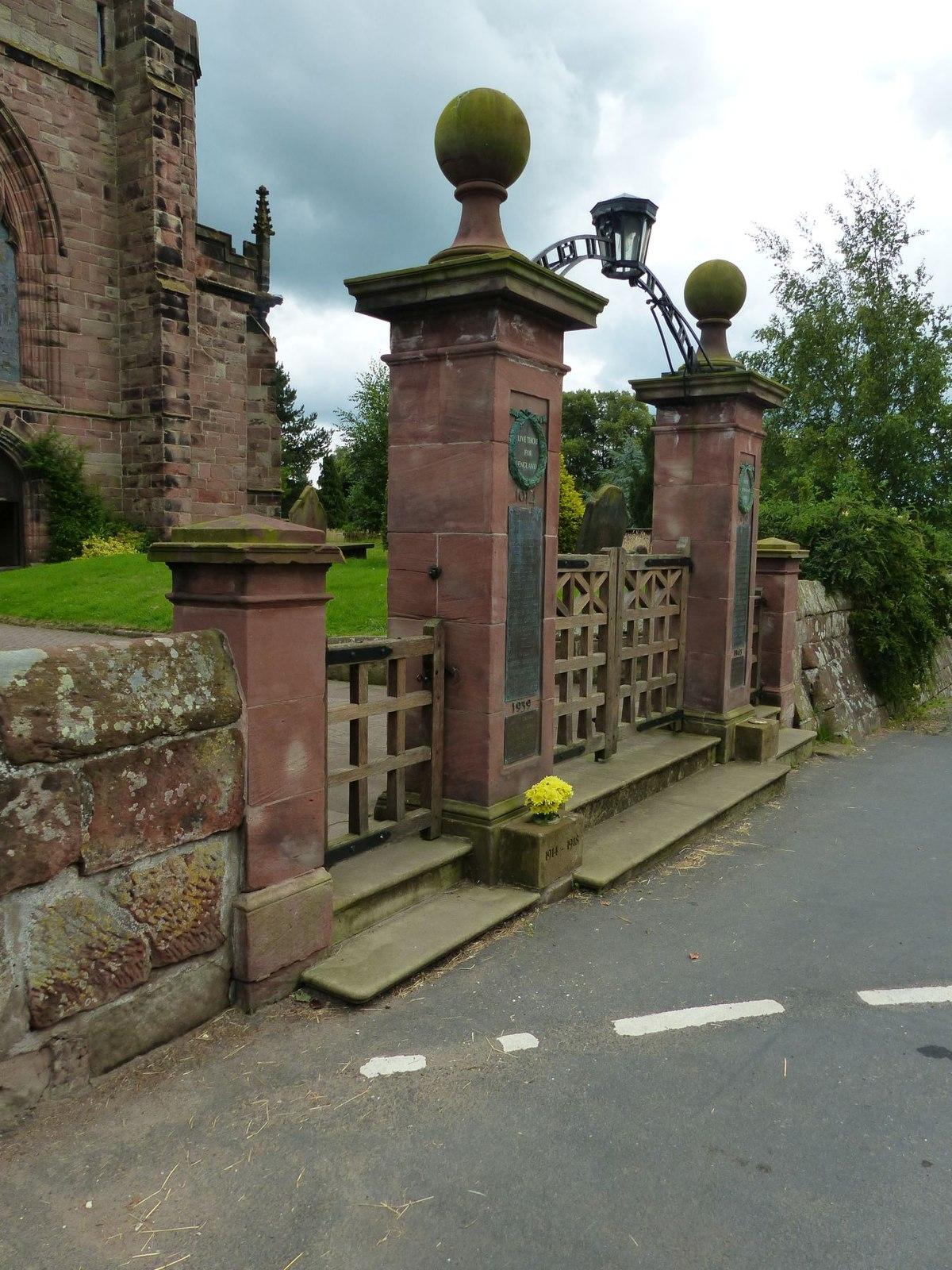 West gates to St Boniface Church, Bunbury, Cheshire.jpg