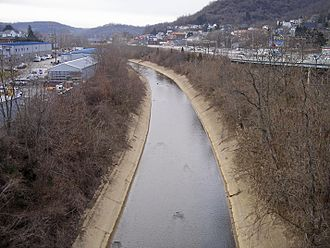 Bridgeport, Ohio - Wheeling Creek near its mouth in Bridgeport in 2006.