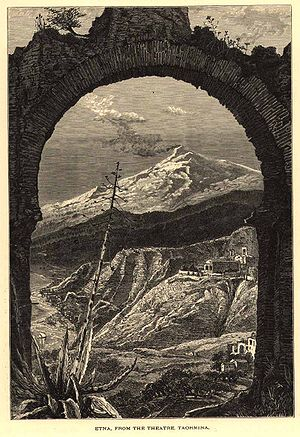Josiah Wood Whymper - Engraving by Whymper: View from the Ancient Greek Theatre at Taormina
