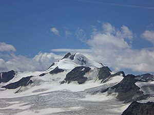 Wildspitze - Wildspitze as seen from the northeast, with the south summit left and the snowy north summit right.