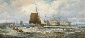 William Anslow Thornley - Prison hulks and other shipping lying in the Hamoaze, Plymouth Sound.jpg