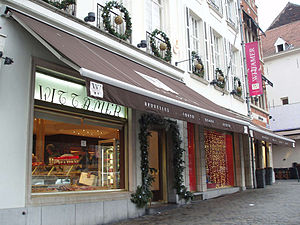 Sablon (Brussels) - Wittamer & Co chocolatier on the Place du Grand Sablon. After losing its prestige, the Sablon is chic once again.