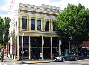 Silverton, Oregon - The historic Wolf Building (built 1891), located at the corner of Water and Main Streets, lies within the Silverton Commercial Historic District.