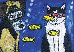 Dog and Cat Underwater