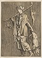 Woman returning from a hunt carrying a boar in her left hand and a stick on her right shoulder to which a hare and two ducks are tied MET DP818722.jpg