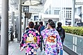 Women in kimono, outside Kyoto Station Kyoto Tower 2018-03-11.jpeg