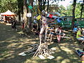 Wooden body painting installation at WBF 2015.jpg