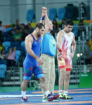 Bekzod Abdurakhmonov - Abdurakhmonov (right) against Jabrayil Hasanov at the 2016 Olympics