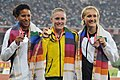 XIX Commonwealth Games-2010 Delhi Winners of Athletics (Women's 100m hurdles), Pearson Sally of Australia (Gold), Whyte Angela of Canada (Silver) and Miller Andrea of New Zealand (Bronze).jpg