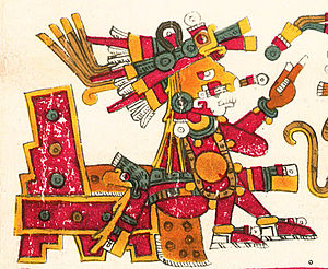 Aztec religion - Xochipilli wearing a deerskin as depicted in the Codex Borgia.