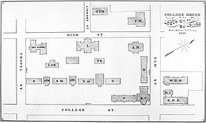 Old Campus (Yale University) - Yale College in 1879, with Old Brick Row buildings and first new dorms. Of the depicted buildings only the Art School, College Library (L.), Connecticut Hall (S.M.), Farnam (F.), Battell Chapel (B.C.) and Durfee (D.) now stand.