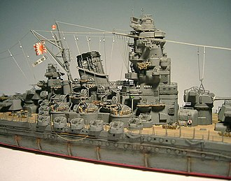 Plastic model - Details of Tamiya 1/700 scale model of the Japanese battleship Yamato, which is heavily detailed with aftermarket photo-etch detailing parts.