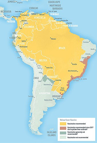 Endemic range of yellow fever in South America (2009) - Yellow fever
