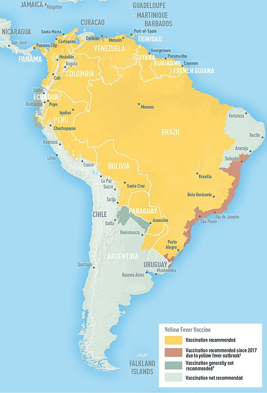 Areas with risk of yellow fever in South America (2018) Yellow fever South America 2009.jpeg
