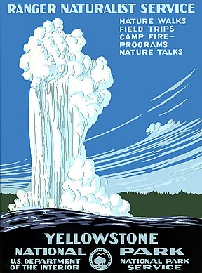 Historical poster of Yellowstone from 1938
