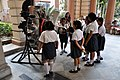 Young Visitors with 220 HP 9-Cylinder Continental Rotary Aero Engine - Birla Industrial & Technological Museum - Kolkata 2015-02-28 3357.JPG