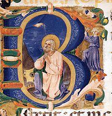 King David in Prayer in an Initial B