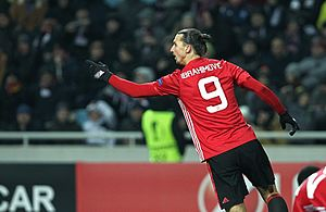 Squad number (association football) - Zlatan Ibrahimović displaying his squad number (9), as portrayed on his Manchester United jersey.