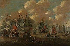 Battle of the Sound - Painting by Peter van de Velde.
