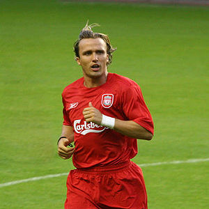 2004 Football League Cup Final - Boudewijn Zenden (pictured playing for Liverpool in 2005) assisted Middlesbrough's first goal and scored their second. He received the Alan Hardaker Trophy for the final's man of the match.