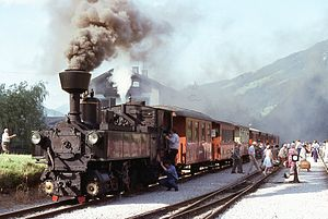 Zillertal Railway - steam train at the Mayrhofen im Zillertal train station (1970s)
