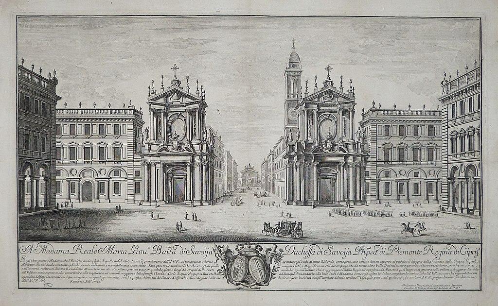 Vue de la Piazza San Carlo à Turin avec les deux églises, Santa Cristina et San Carlo. Image de l'Archivio Libreria Antiquaria Bourlot - Torino, photo d'Argonitros