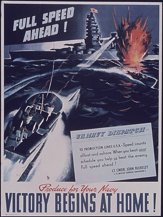 Motor Torpedo Boat Squadron Three - WWII poster with quote from John D. Bulkeley, Cd. Motor Torpedo Boat Squadron 3
