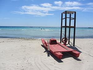 """ 12 - ITALY - holiday vacation Salento ( south Apulia ) 8 Marina di Uggento Lifeguard tower and vehicle.JPG"
